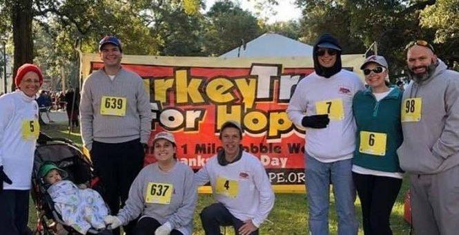 Crow Shields Bailey participates in Turkey Trot for Hope benefiting Camp-Rap-A-Hope